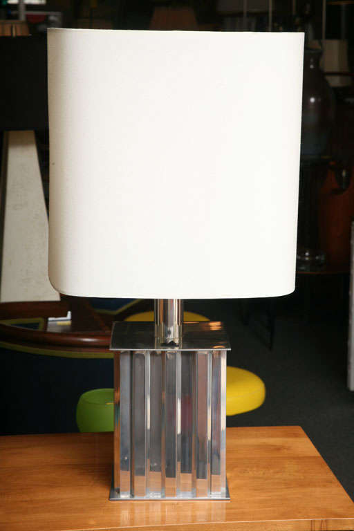 Mid-Century Modern Brazilian Modernist Dominici Polished Aluminum Table Lamp For Sale