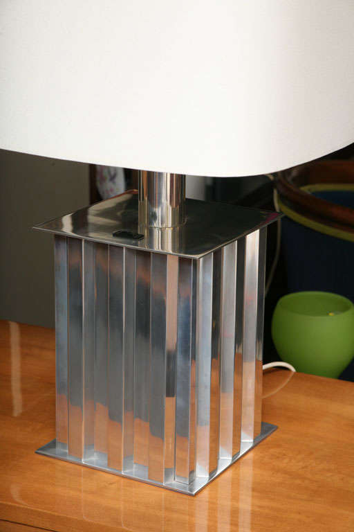 Brazilian Modernist Dominici Polished Aluminum Table Lamp In Excellent Condition For Sale In Miami, FL