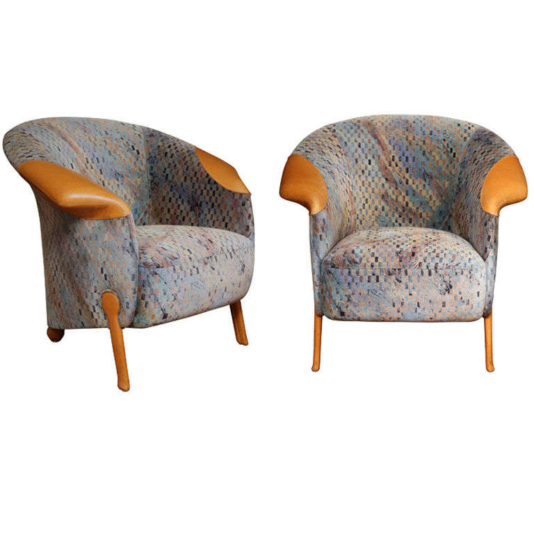 Pair of Postmodern Armchairs by Franz Wittman For Sale
