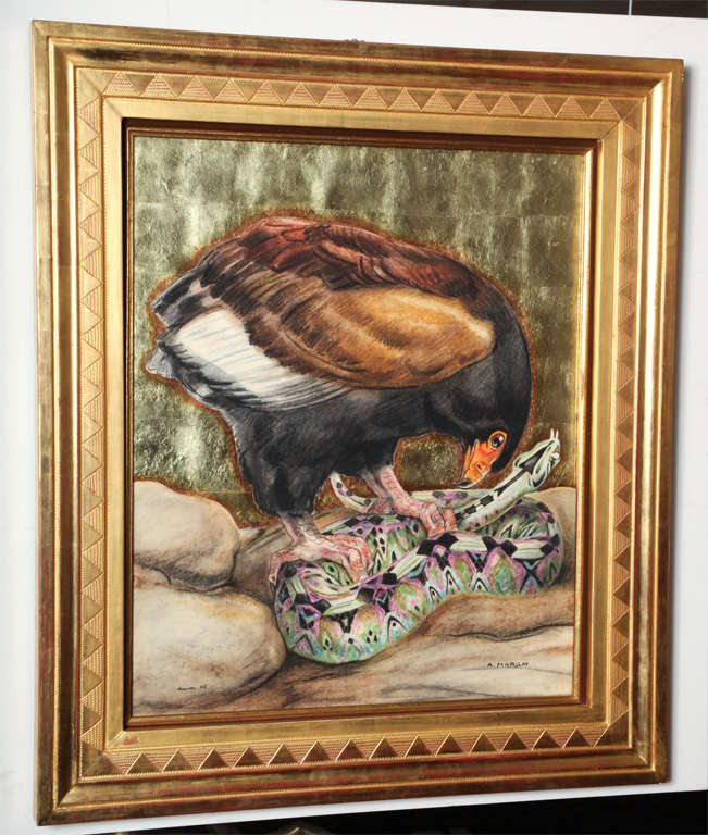 """André Margat, (1903-1999).  Eagle and snake, 1956.  Pastel and gold-leaf on board. Measures: 25 5/8""""x21 3/8 (framed: 33 1/3"""" x 29""""). Signed and dated."""