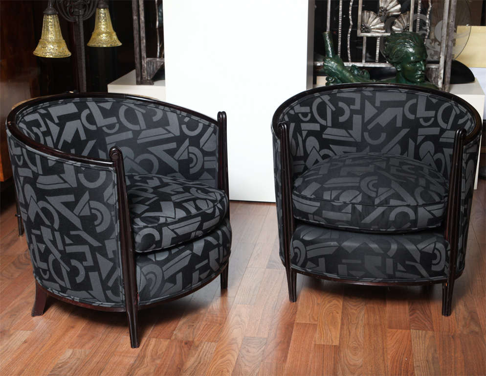 Travail Français 1930s pair of armchairs (part of a salon set).
