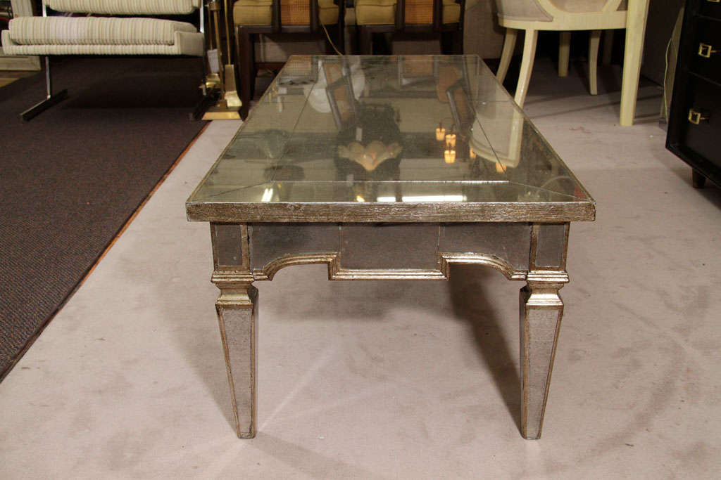 Vintage Mirrored Coffee Table With Pale Gold Detailing At 1stdibs