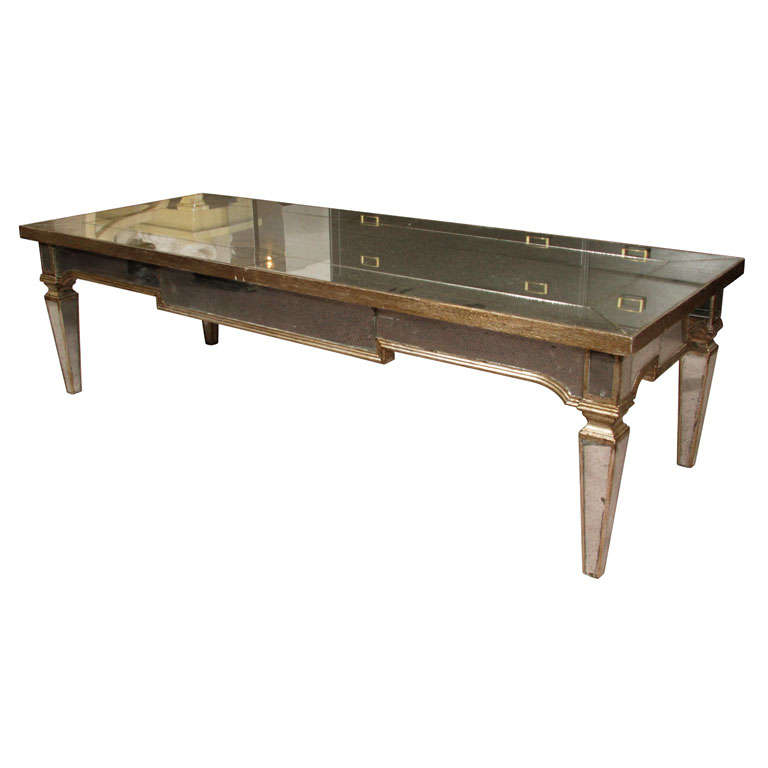 Vintage Mirrored Coffee Table With Pale Gold Detailing At
