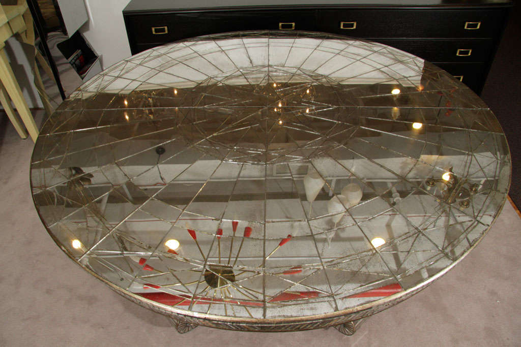 Vintage Round Mirrored Dining Table With Two Occasional Leafs Image 5