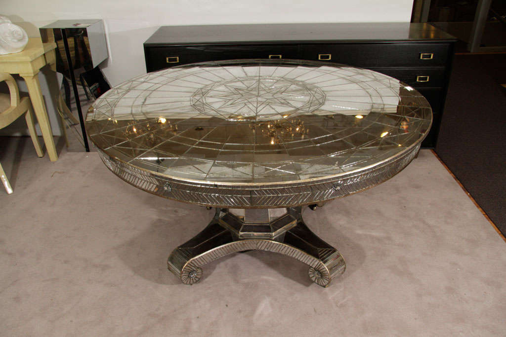Vintage Round Mirrored Dining Table With Two Occasional Leafs At