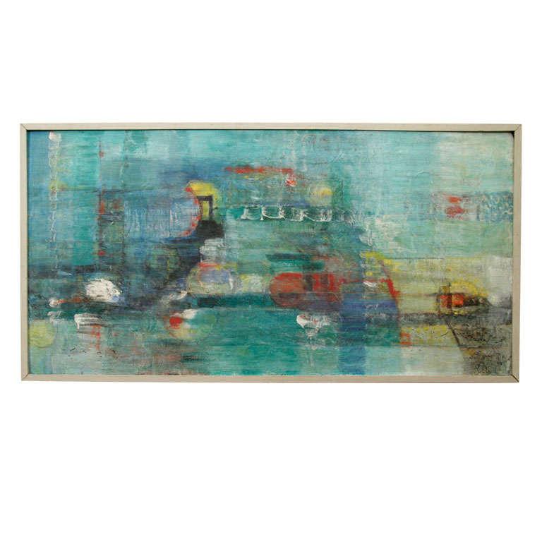 Framed Tonal Abstract Acrylic on Board Painting