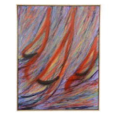 "Abstract ""Sailboats"" Acrylic on Canvas Painting; Signed Brennan"