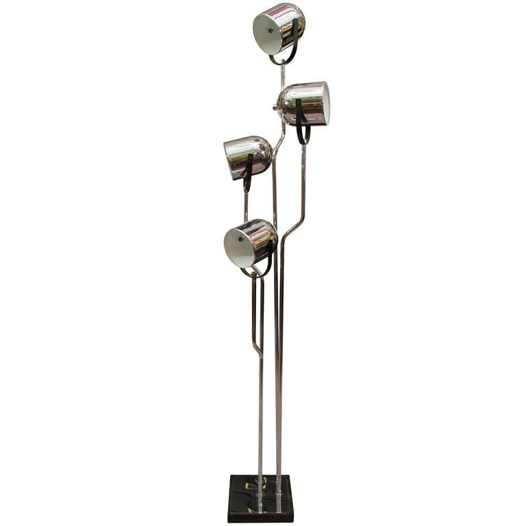 Mid century chrome directional floor lamp by reggiani for Reggiani chrome floor lamp