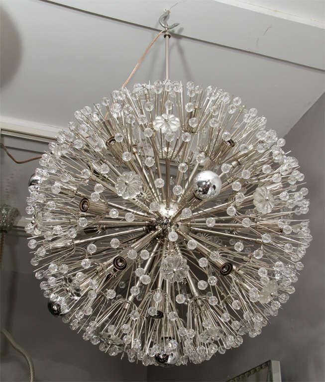 Large nickel-plated crystal sputnik snowflake chandelier.