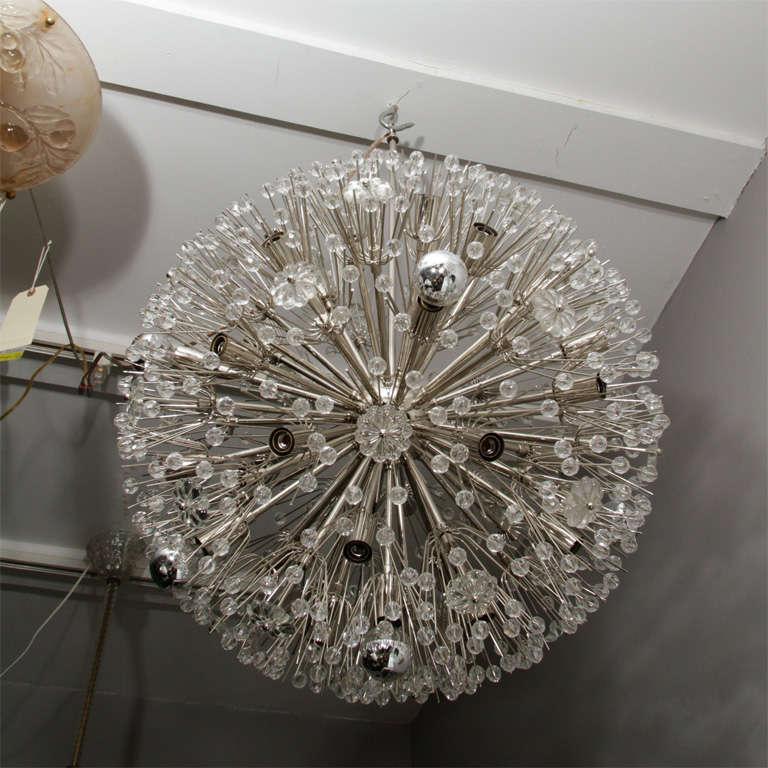 Crystal Large 1960s Austrian Snowflake Sputnik Chandelier For Sale