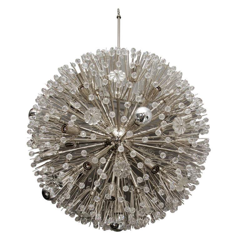 Large 1960s Austrian Snowflake Sputnik Chandelier 1