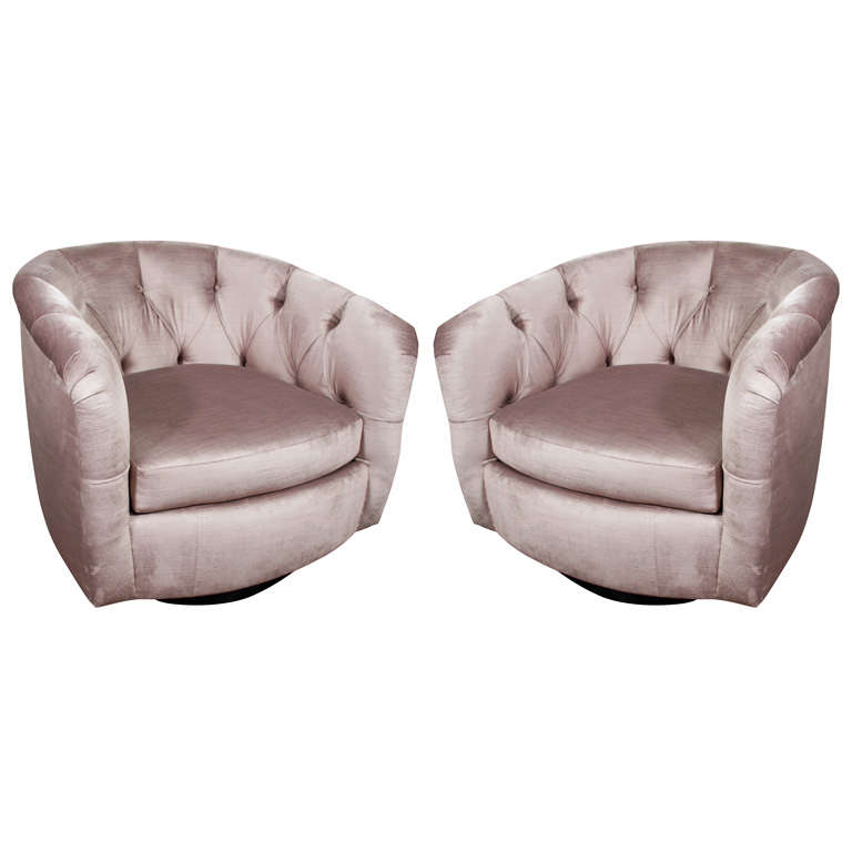 Merveilleux Pair Of Milo Baughman Tufted Swivel Chairs For Sale