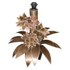 1970s Lamp with Brass Floral Motifs