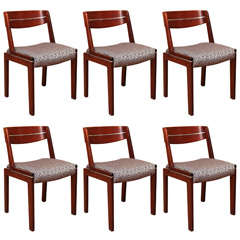 Spectacular Suite of Six Modernist Dining Chairs