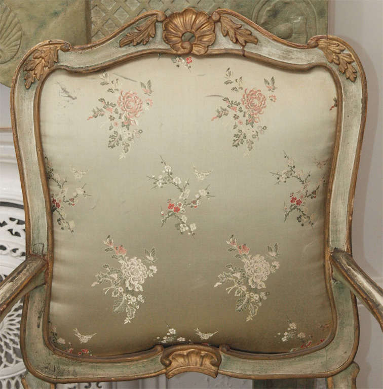 Pair of late 18th C Louis XV Style Fauteuils with beautiful carvings