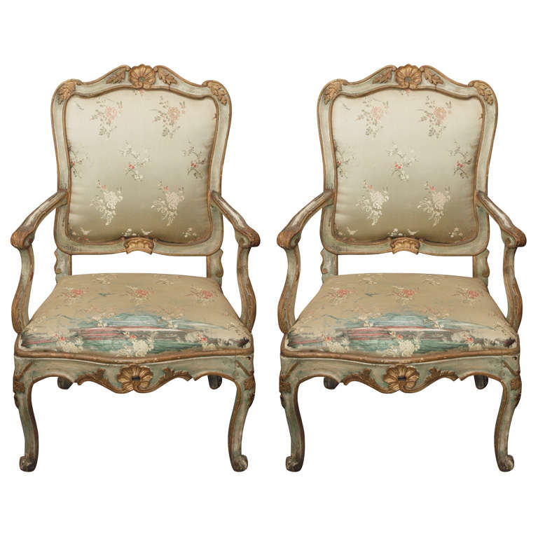 Pair of Louis XV Style Fauteuils 1