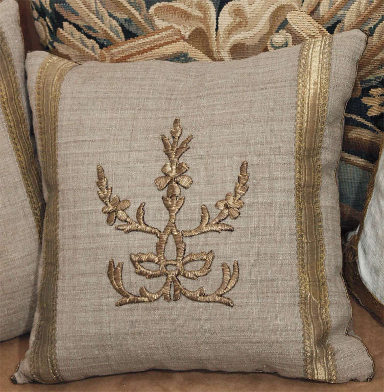 Pair of Antique Embroidery Pillows image 2