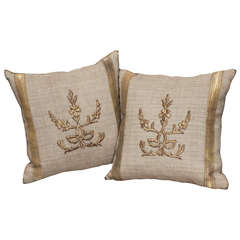 Pair of Antique Embroidery Pillows