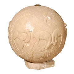 C.1930 French Carved Stone Relief Sphere