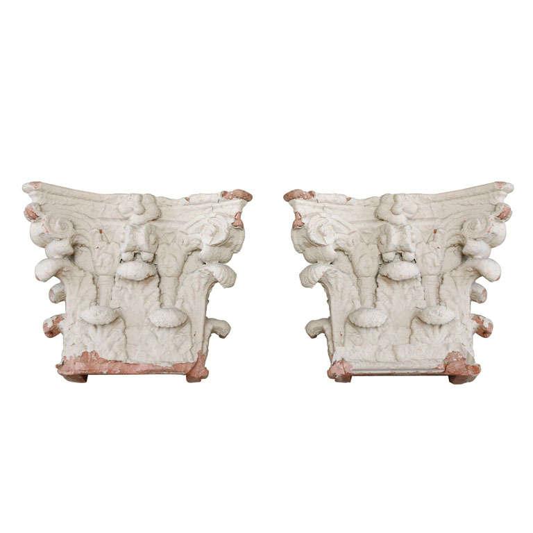 Pair of Plaster Architectural Capitals, 19th Century