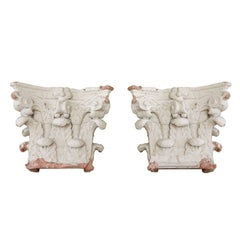 Pair of Plaster Architectural Capitals, 19th Century