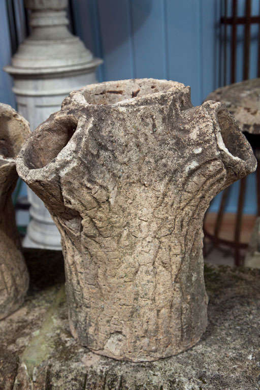 Authentic Pair Of Faux Bois Tree Trunk Planters At 1stdibs