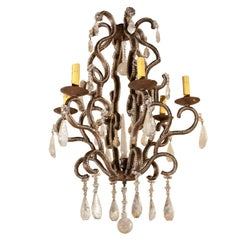 1980s Six-Light Iron and Rock Crystal Chandelier