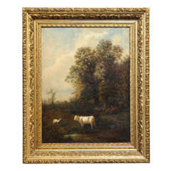 19th C. Oil On Canvas, Pastoral Scene By R. Jonas