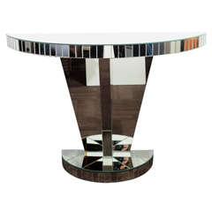 Art Deco Mirrored Console Table with Skyscraper Pedestal Design
