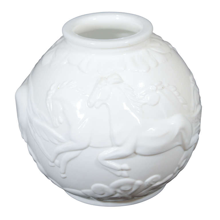 Art Deco White Glass Vase With Leaping Horses At 1stdibs