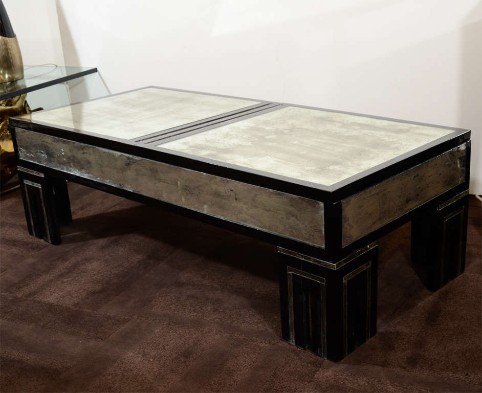 Antique Mirrored And Ebonized Cocktail Table By James Mont At 1stdibs