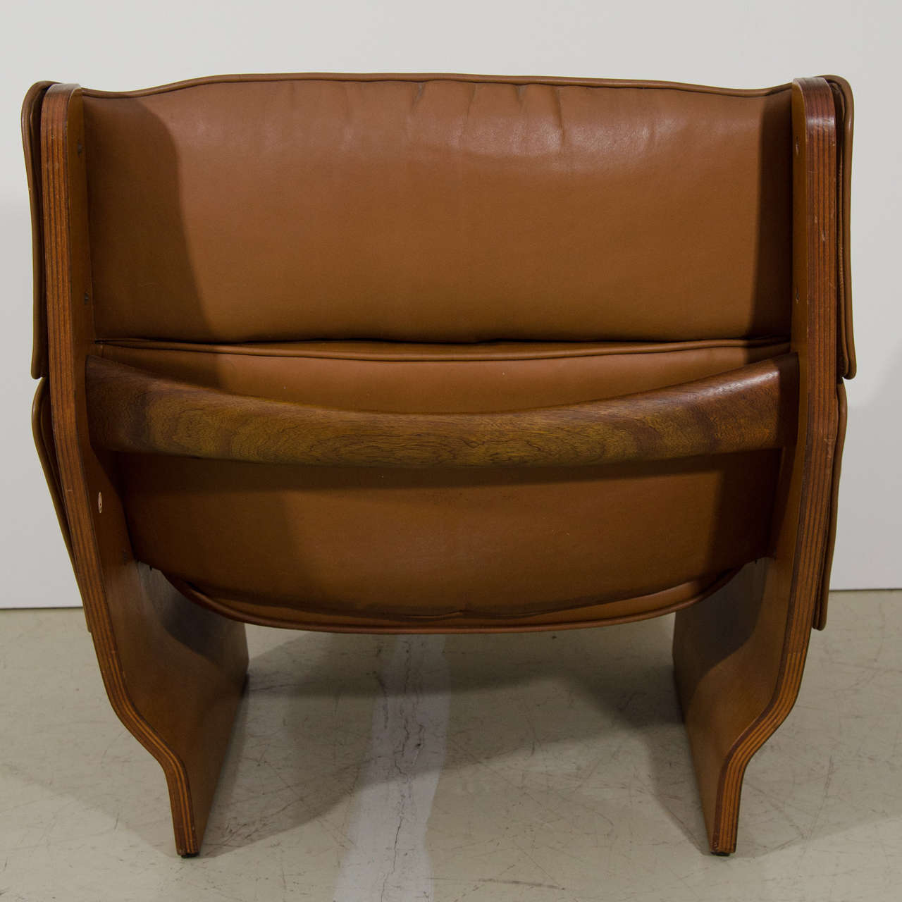 Single Brown Leather Quot Canada Quot Chair By Osvaldo Borsani At