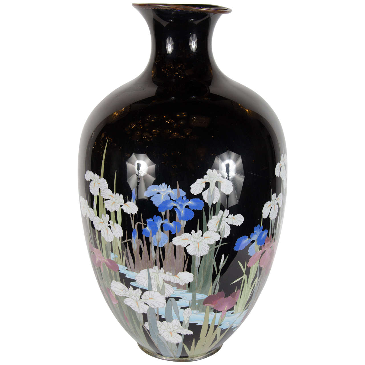 Exquisite Hand Enameled Chinese Vase Of Iris In A Water