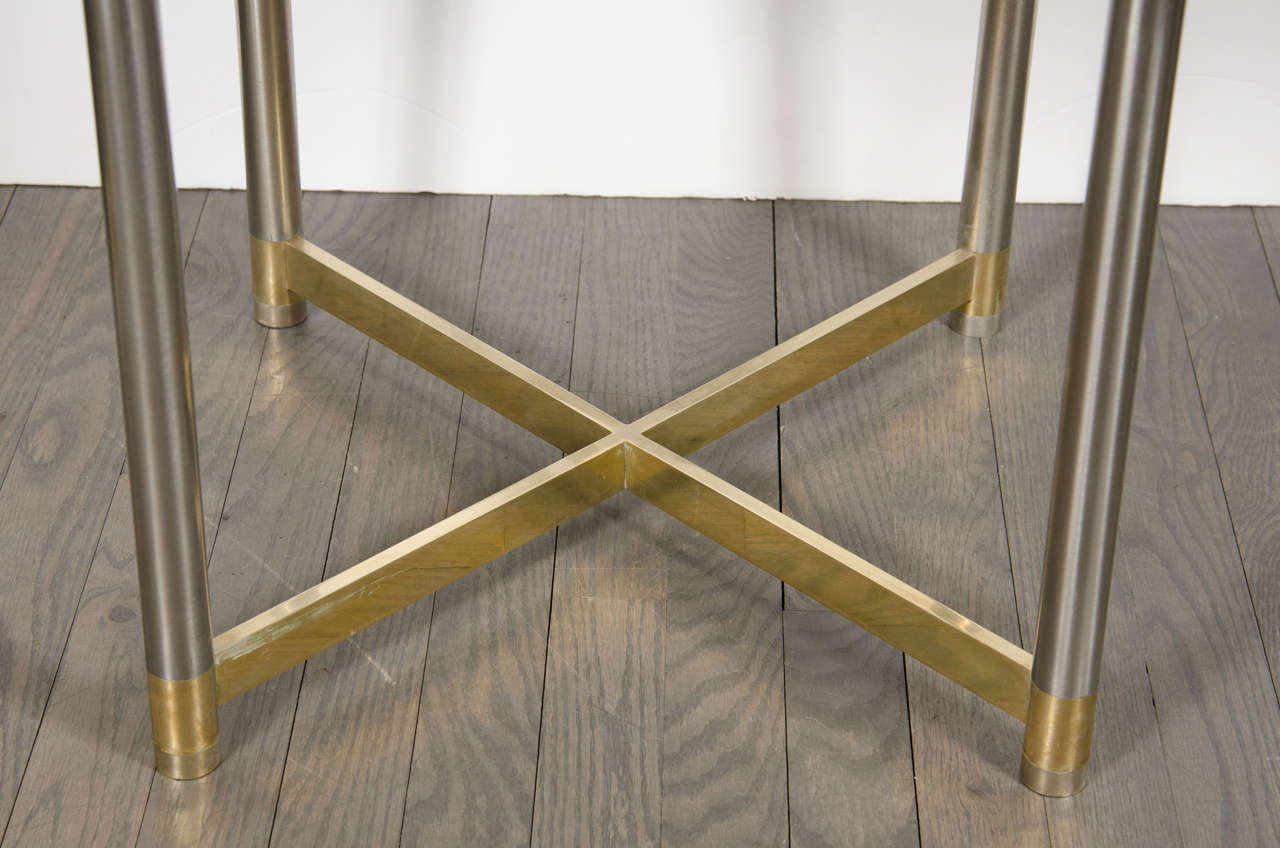 American Mid-Century Modern Chrome & Brass X-Form Stool in the Manner of Karl Springer For Sale