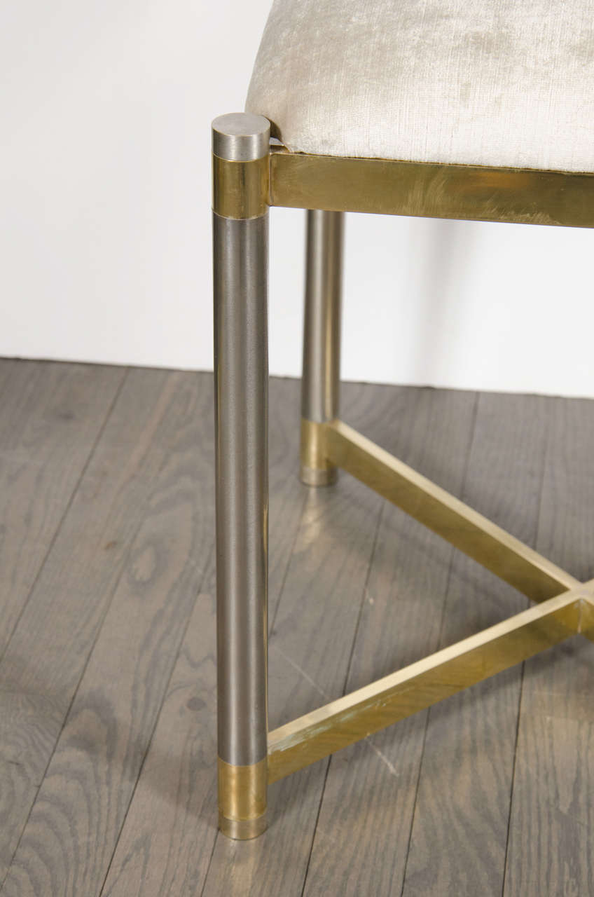 Mid-Century Modern Chrome & Brass X-Form Stool in the Manner of Karl Springer In Excellent Condition For Sale In New York, NY