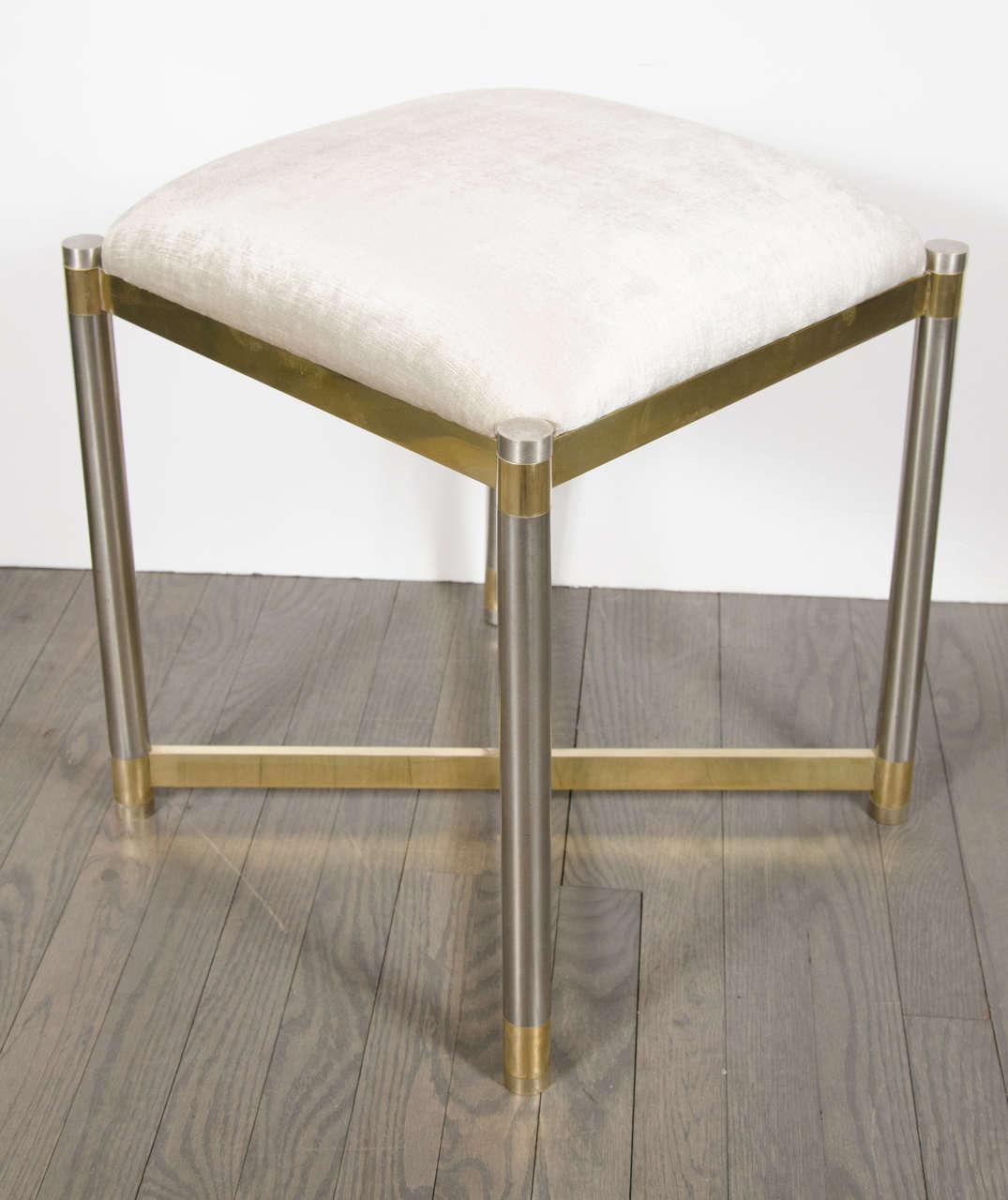 Late 20th Century Mid-Century Modern Chrome & Brass X-Form Stool in the Manner of Karl Springer For Sale