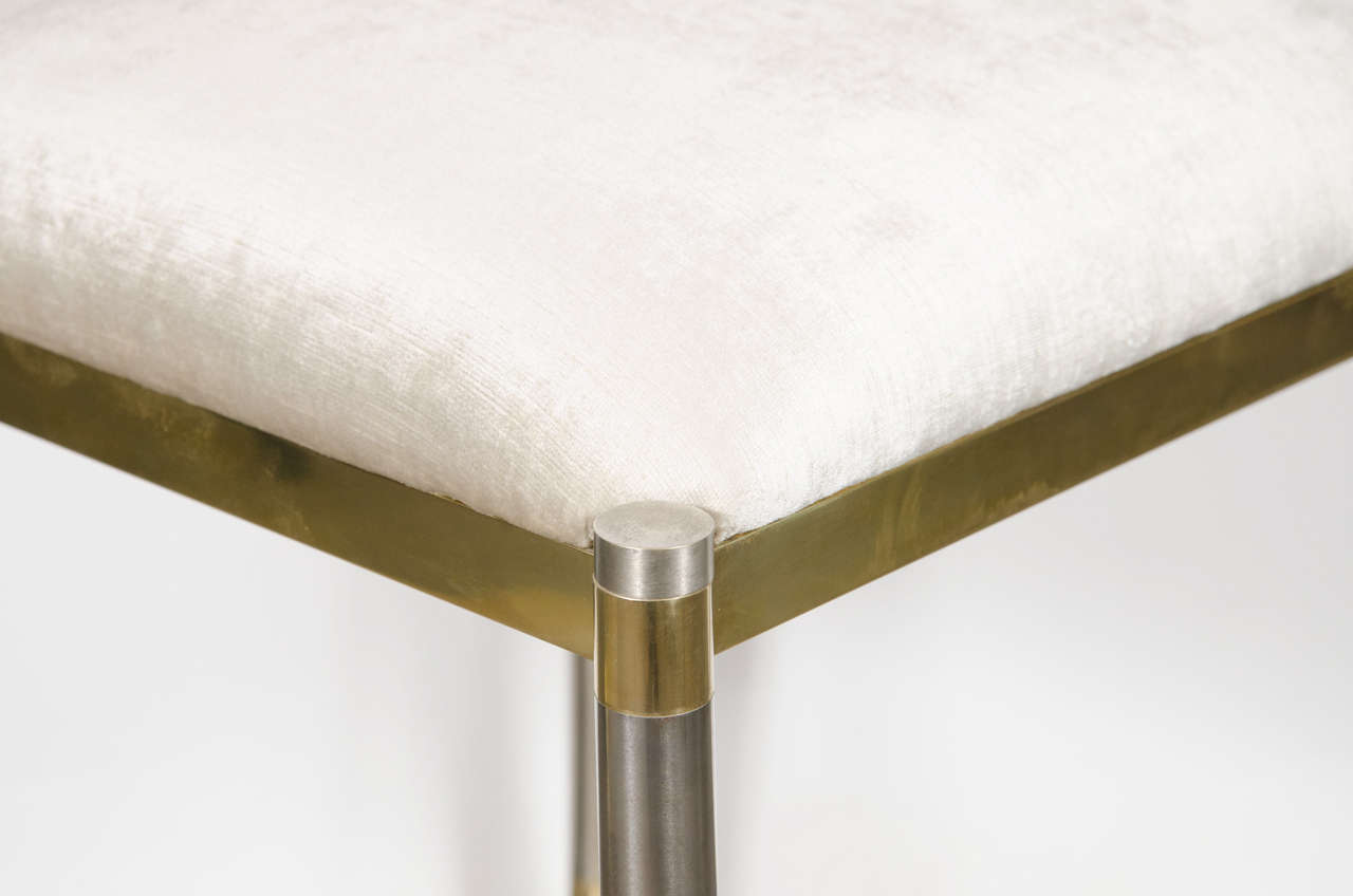 Mid-Century Modern Chrome & Brass X-Form Stool in the Manner of Karl Springer For Sale 1