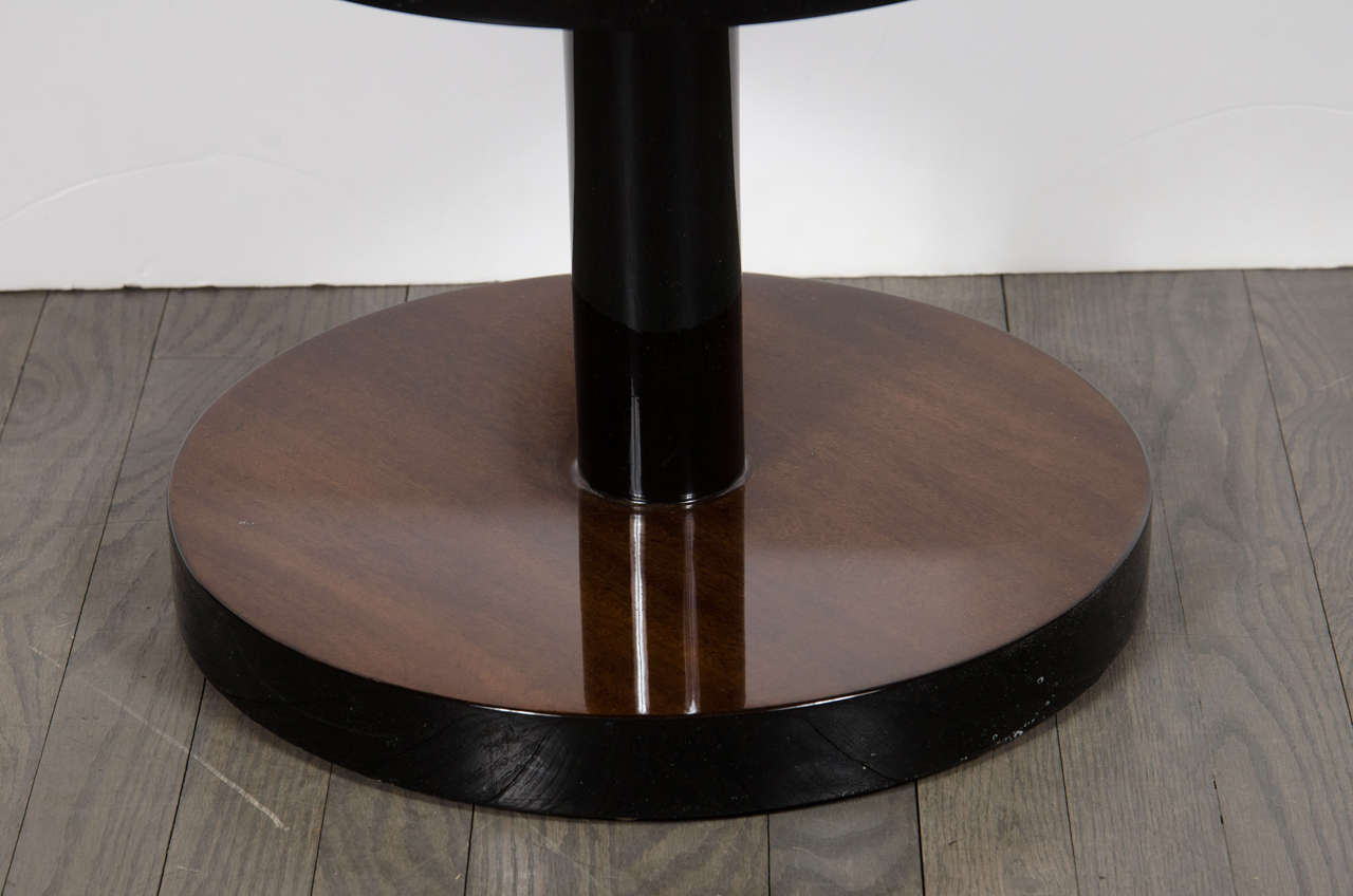 American  Art Deco Machine Age Three-Tier End Tables in Book- Matched Walnut & Lacquer For Sale