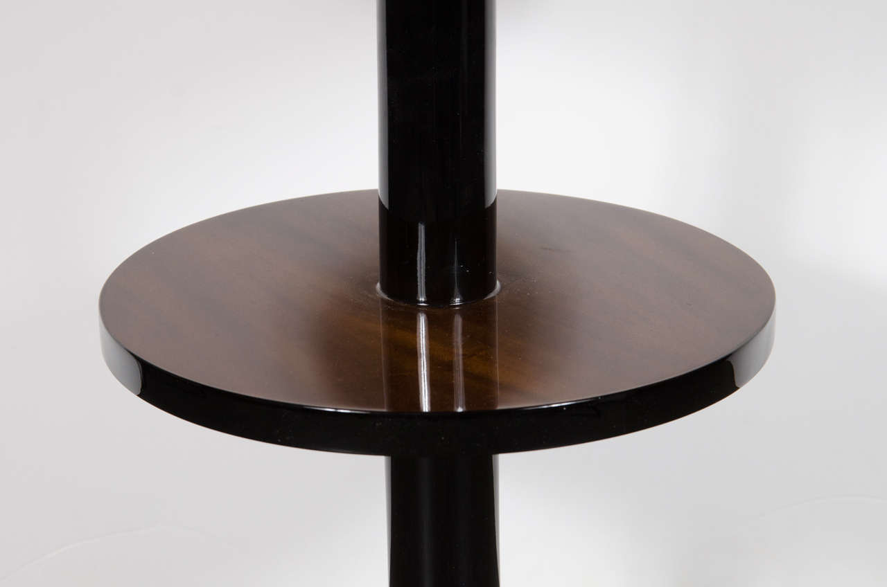 Art Deco Machine Age Three-Tier End Tables in Book- Matched Walnut & Lacquer In Excellent Condition For Sale In New York, NY