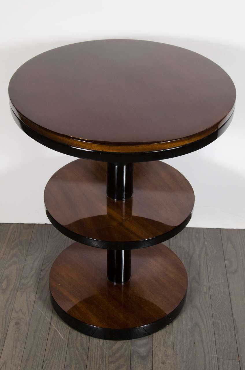 Mid-20th Century  Art Deco Machine Age Three-Tier End Tables in Book- Matched Walnut & Lacquer For Sale