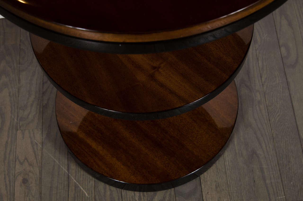 Art Deco Machine Age Three-Tier End Tables in Book- Matched Walnut & Lacquer For Sale 2