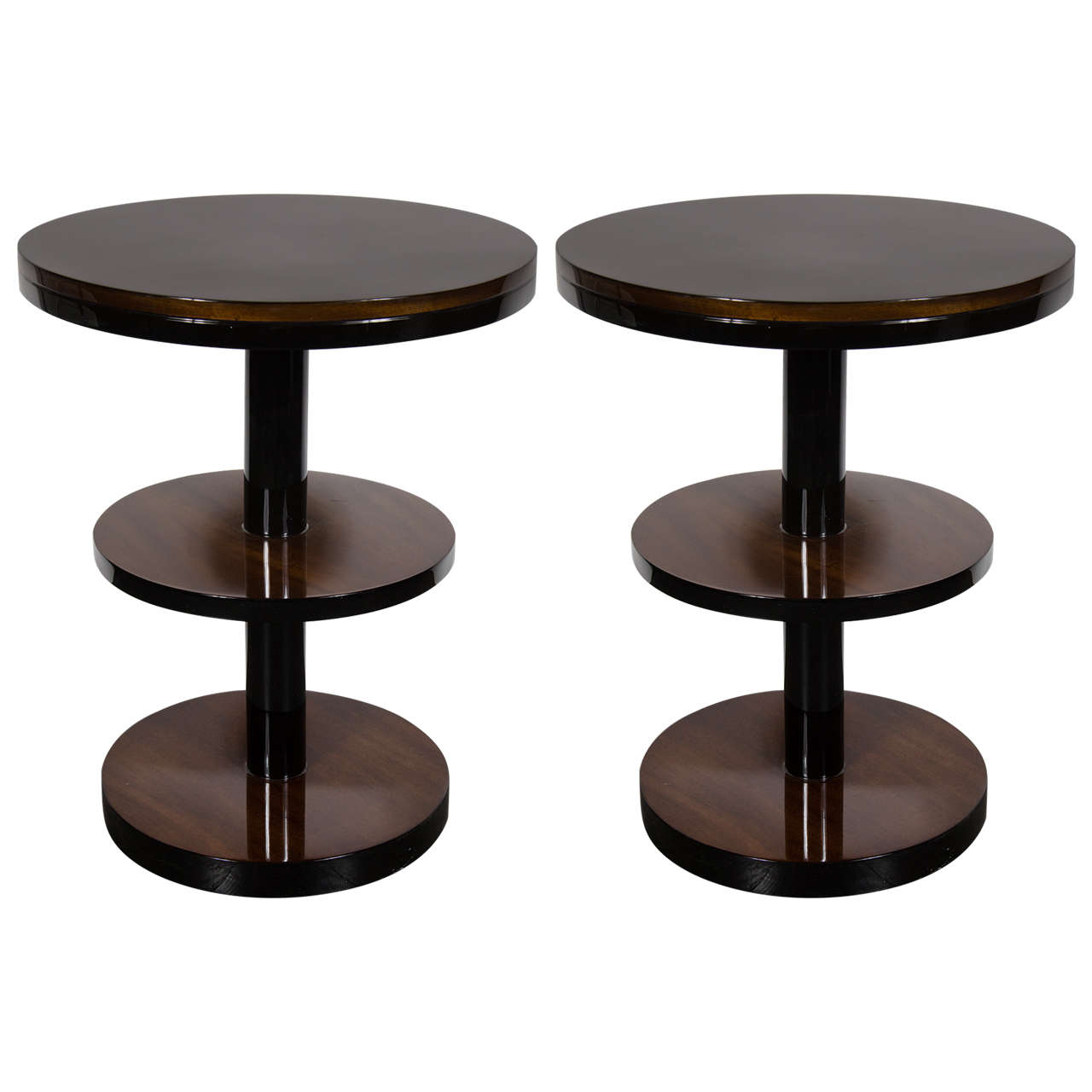 Art Deco Machine Age Three-Tier End Tables in Book- Matched Walnut & Lacquer