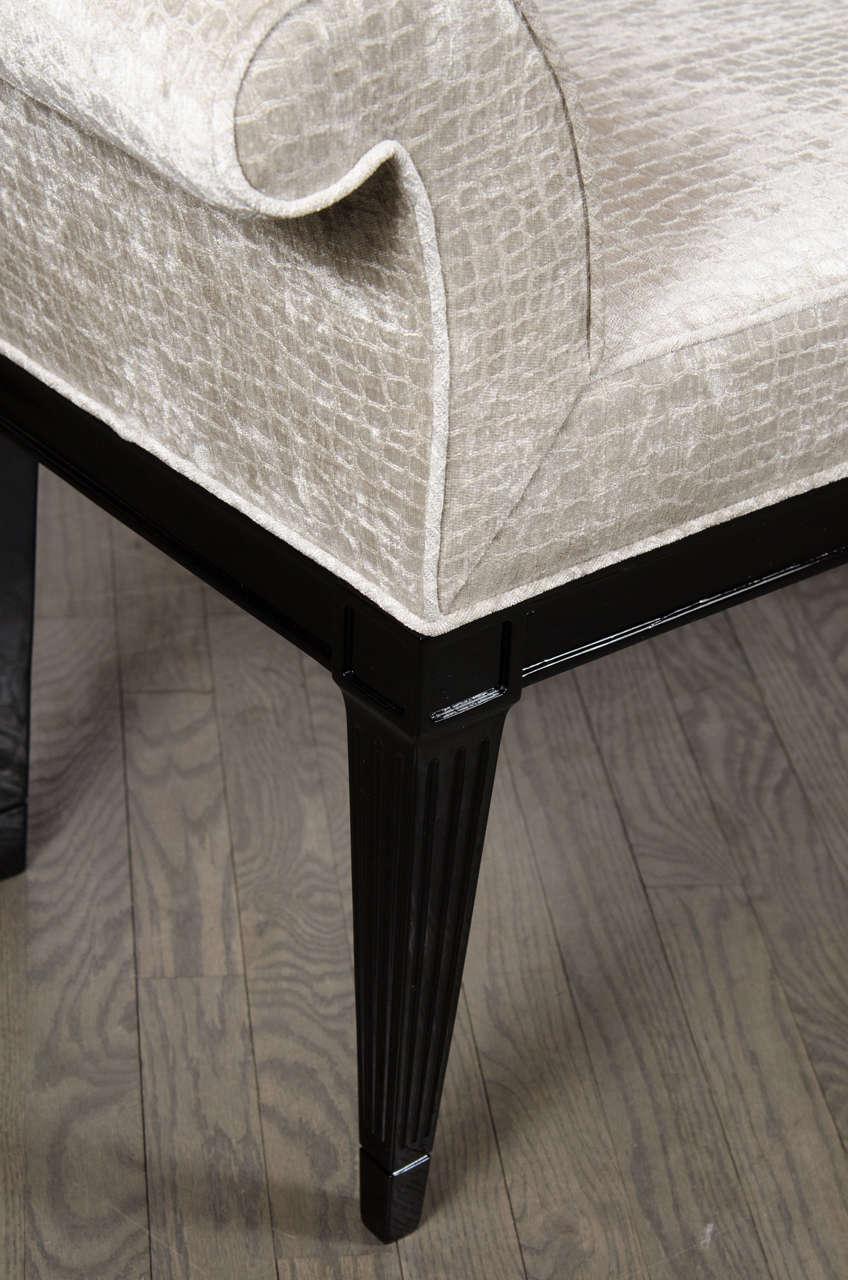 Mid Century Modernist Scroll Arm Design Bench In Gauffraged Velvet Upholstery At 1stdibs