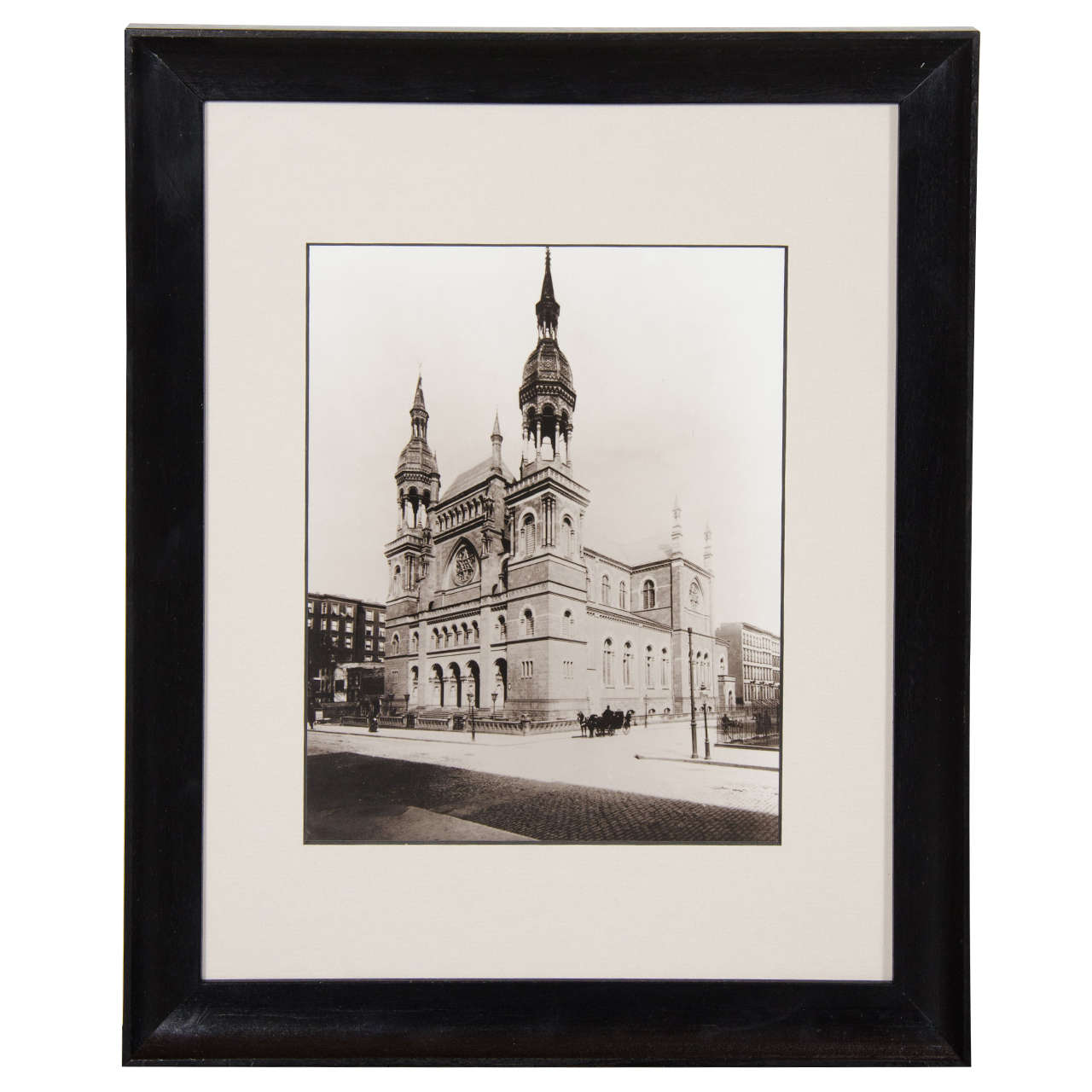 "Vintage Black and White Photograph of ""Temple Emanu-El""in New York City"