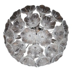 Mid-Century Flush Mount Chandelier in Chrome with Murano Glass Floral Shades