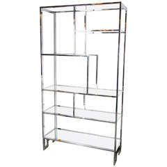 Mid-Century Modernist Etagere in Chrome by Milo Baughman