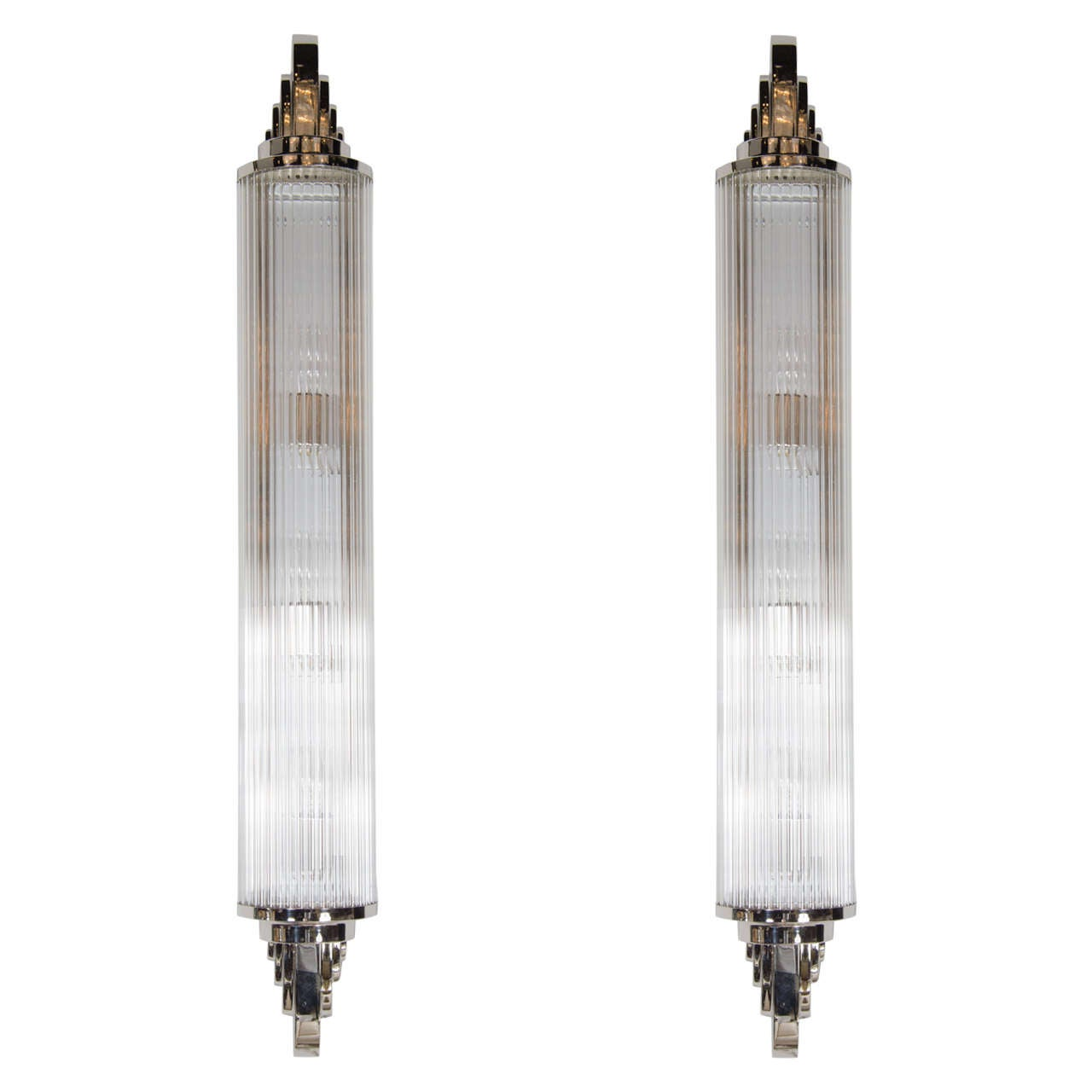pair of french art deco skyscraper style sconces in nickeled bronze and glass for sale at 1stdibs. Black Bedroom Furniture Sets. Home Design Ideas