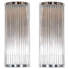 Pair of Art Deco Machine Age Style Lucite Rod and Chrome Sconces