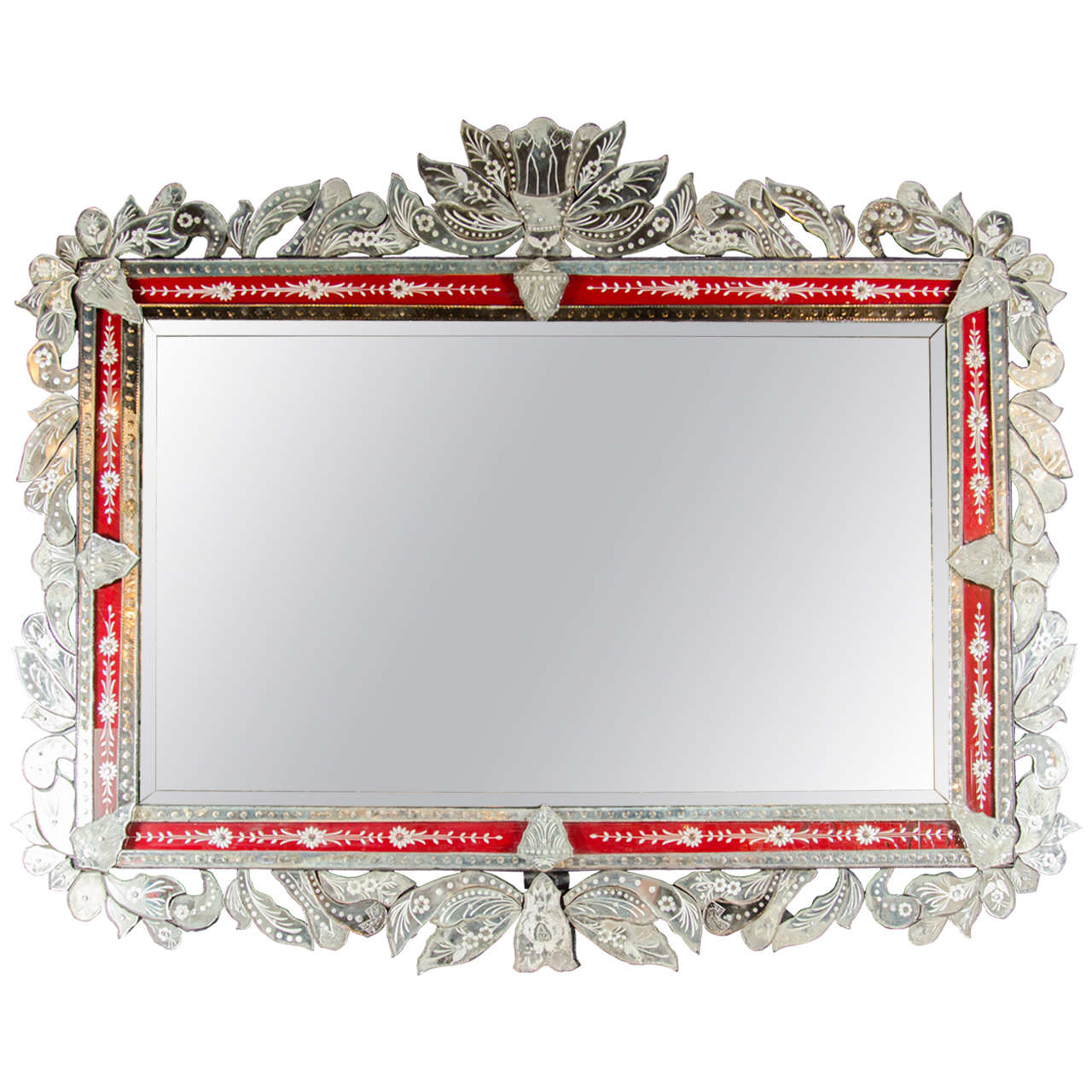 Spectacular Grand Venetian Mirror With Inset Ruby Red