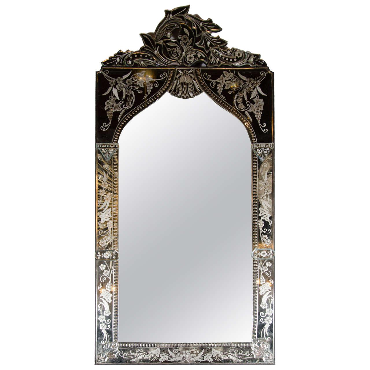 Exquisite Venetian Arabesque Style Mirror with Reverse Etching